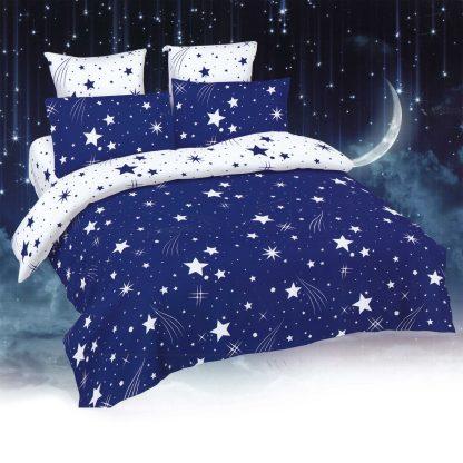 Lenjerie de pat alb albastru cu stelute