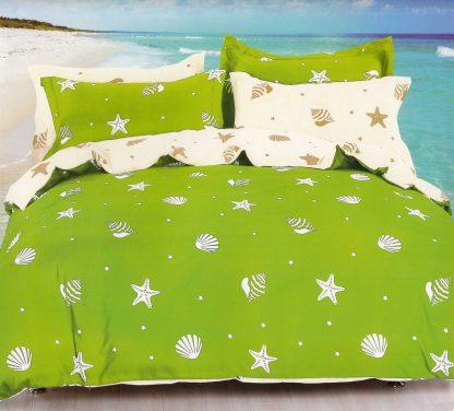 Lenjerii de pat 6 piese Sofy verde luminos crem