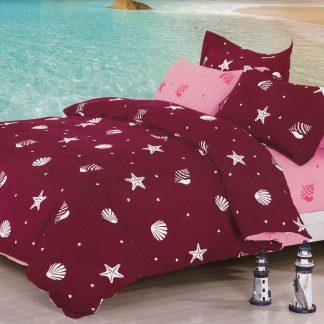 Lenjerii de pat 6 piese bordo, roz dulce