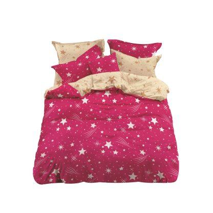 Lenjerii de pat 3 piese rosu fuchsia stele cometa