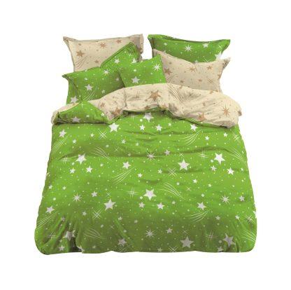 Lenjerii de pat 3 piese verde crud stele cometa