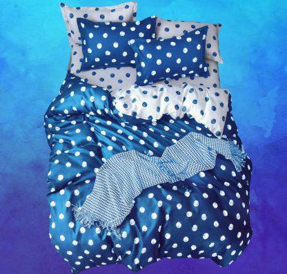 Lenjerii de pat 4 piese albastru safir alb buline