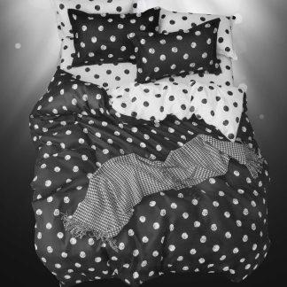 Lenjerii de pat 4 piese negru alb buline