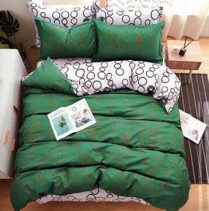 Lenjerii de pat 6 piese verde regal cercuri