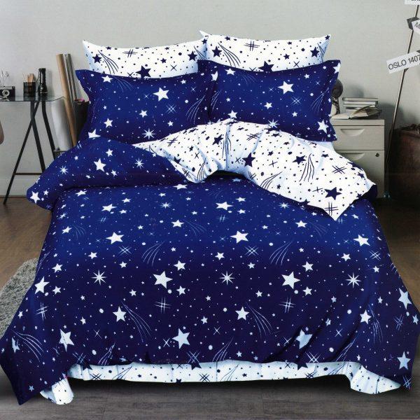 Lenjerii de pat 6 piese albastre alb stelute