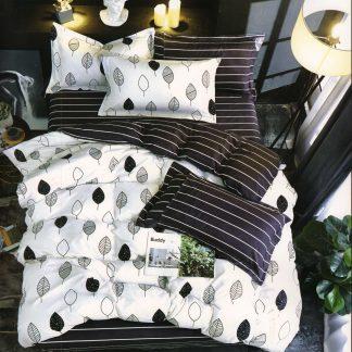 Lenjerii de pat 6 piese negru alb nordic king size