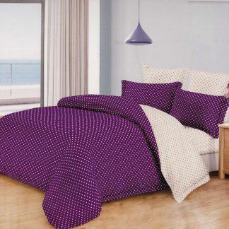 Lenjerie de pat ultra violet alb cu buline mici king size