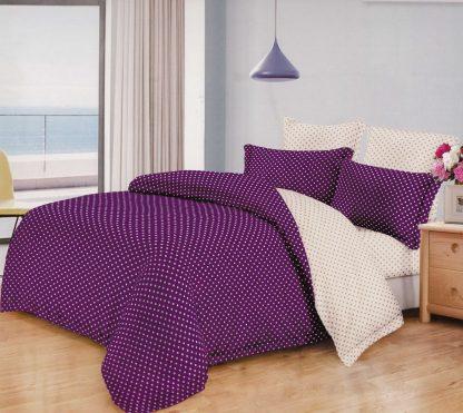 Lenjerie de pat ultra violet alb cu buline mici