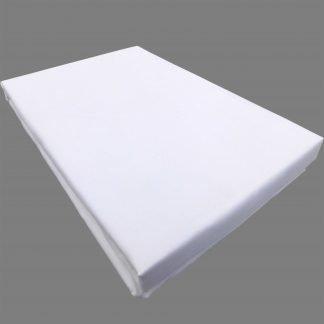 Cearsaf alb bumbac cu elastic 160 cm x 200 cm