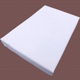 Cearsaf alb bumbac cu elastic 180 cm x 200 cm