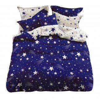 Lenjerie de pat albastra cu stelute