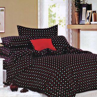 Lenjerie de pat neagra cu buline rosii albe king size
