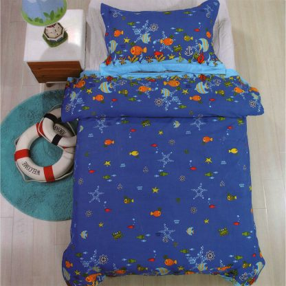 Lenjerie de pat pentru copii, albastru bleumarin
