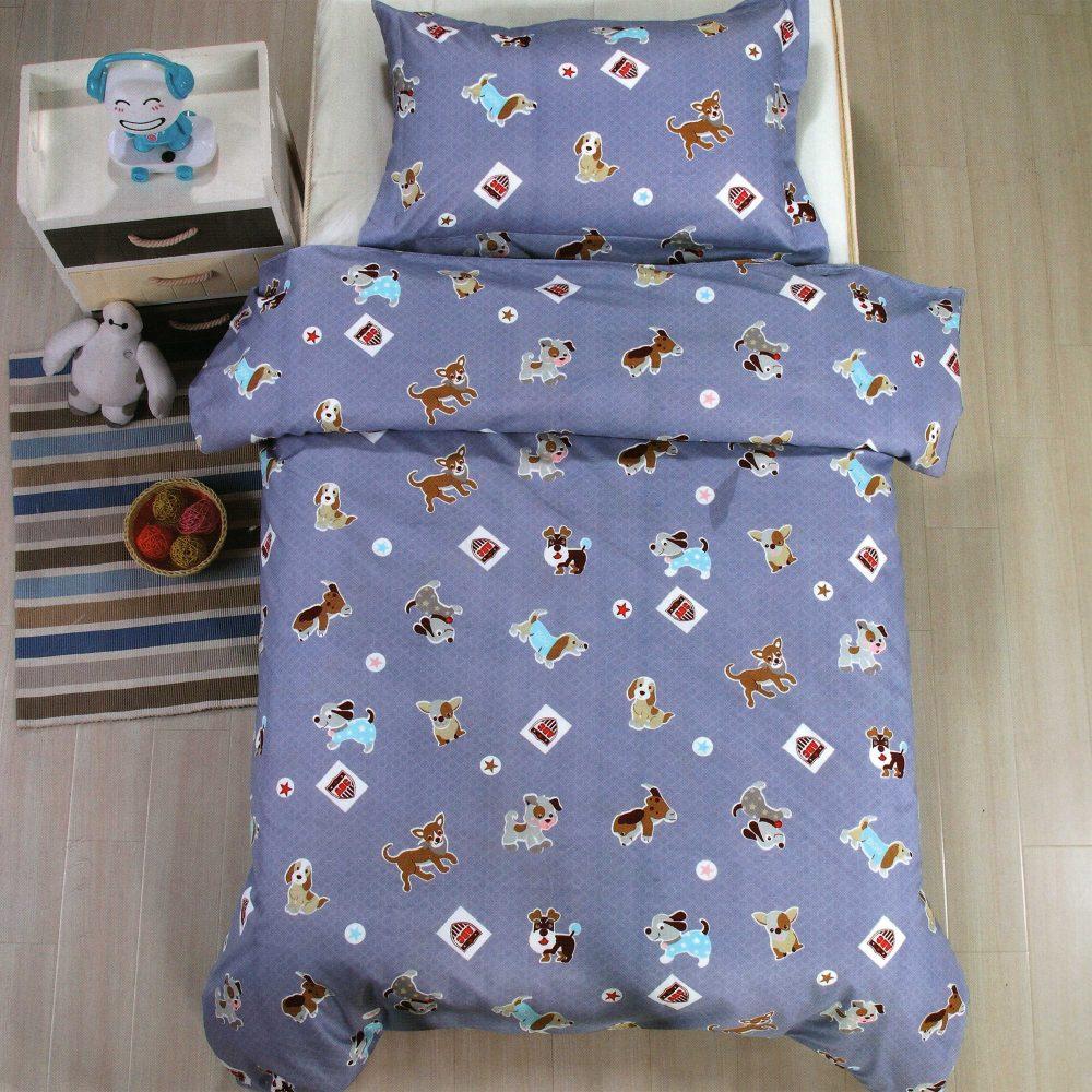 Lenjerie de pat pentru copii, liliac, catelusi