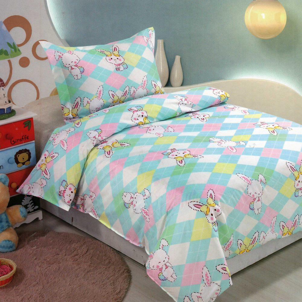 Lenjerie de pat pentru copii, multicolora, iepurasi