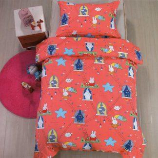 Lenjerie de pat pentru copii, portocaliu, castel, iepuras