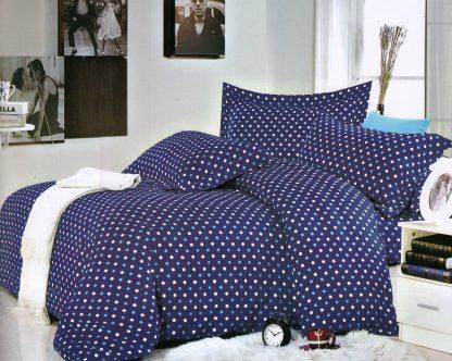 Lenjerii de pat cu buline albastre albe king size