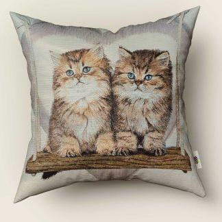 Față de pernă decorativă 2 pisicuțe pe leagăn