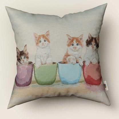 Față de pernă decorativă 4 pisicuțe teacup