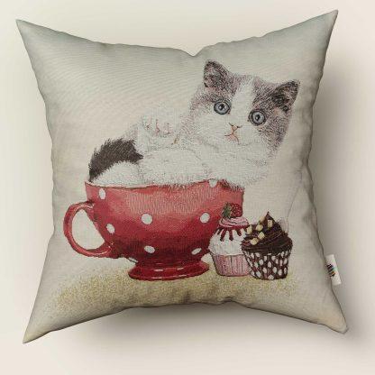Față de pernă decorativă pisicuță teacup