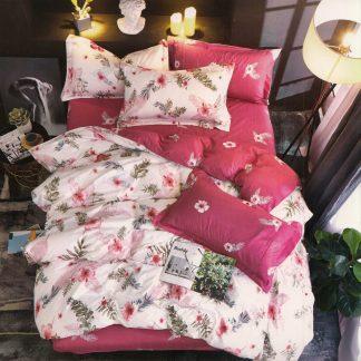 Lenjerie de pat 7 piese alb fucsia motiv floral