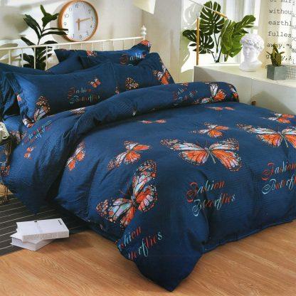 Lenjerie de pat 7 piese 2 persoane albastra cu fluturi