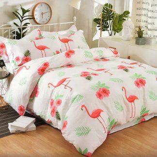 Lenjerie de pat 7 piese 2 persoane Flamingo
