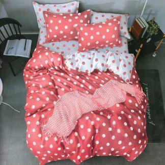 Lenjerie de pat 7 piese roz deschis, buline mari