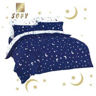 Lenjerii de pat 7 piese albastre alb stelute semiluna