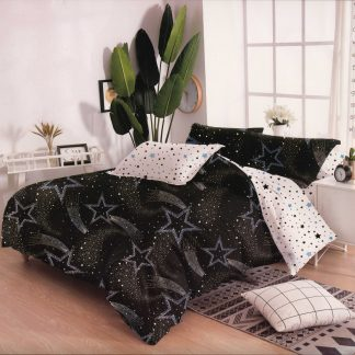 Lenjerii de pat 7 piese negru alb stelute