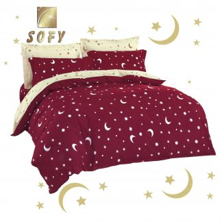 Lenjerii de pat 7 piese rosu bordo, crem deschis stelute semiluna