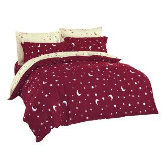 Lenjerii de pat 7 piese rosu bordo, crem deschis stelute semilun