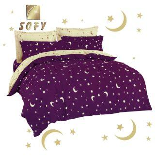 Lenjerii de pat 7 piese violet, mov, crem deschis stelute semiluna