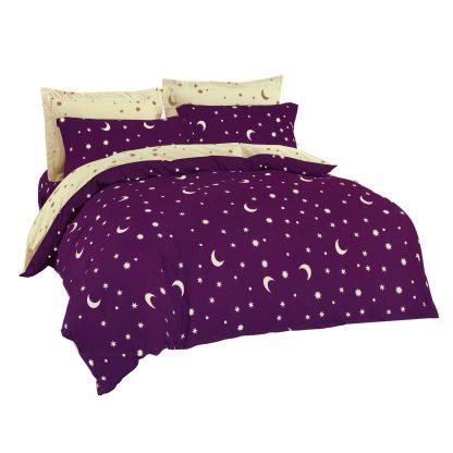 Lenjerii de pat 7 piese violet, mov, crem deschis stelute semilu
