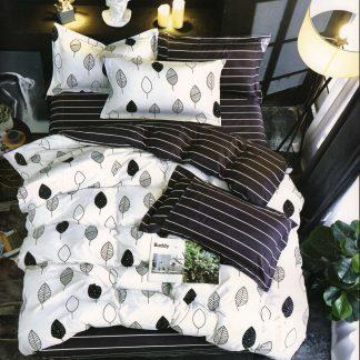 Lenjerii de pat 7 piese negru alb nordic