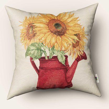Față de pernă decorativă flori floarea soarelui în stropito