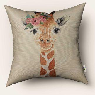 Față de pernă decorativă girafă cu flori