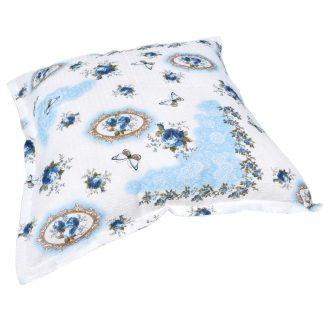 Fata de perna 70cm x 70cm patrata Primavara albastra, motiv flor