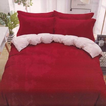 Lenjerie de pat 3 piese rosu intens, alb
