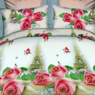 Lenjerii de pat dublu, trandafiri, Paris, 3D