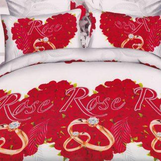 Lenjerie de pat trandafiri si diamant