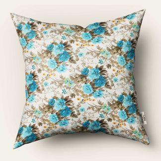 Fata de perna motiv floral, albastru turcoaz 70 cm x 70 cm