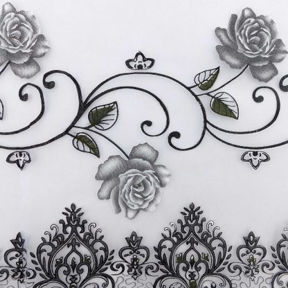 Perdele gata facute 400 cm x 150 cm Trandafiri Gri