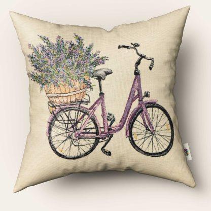 Față de pernă decorativă bicicletă cu lavandă