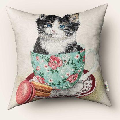 Fete de perna decorative pisicuta teacup, albastră