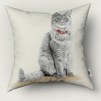Față de pernă decorativă pisicuță gri