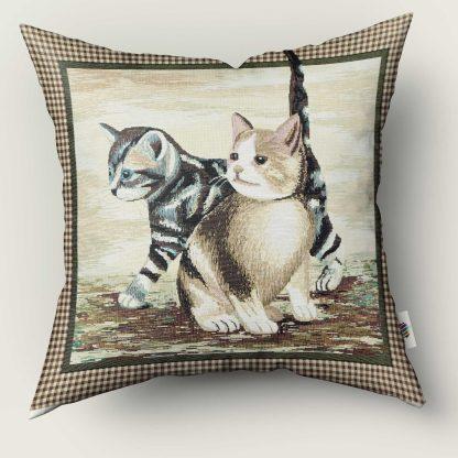 Față de pernă decorativă 2 pisicuțe, tablou clasic