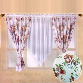 Perdele gata facute 400 cm x 150 cm bujori, motiv floral 4