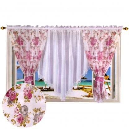 Perdele gata facute 400 cm x 150 cm bujori, motiv floral 7