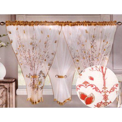 Perdele gata facute 400 cm x 150 cm motiv floral, rosu